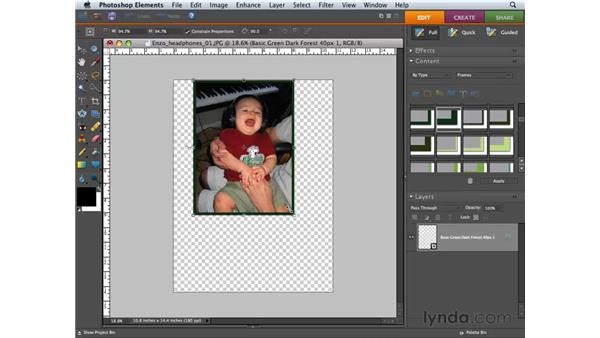 Adding artwork with the Content palette: Photoshop Elements 6 for Mac Essential Training