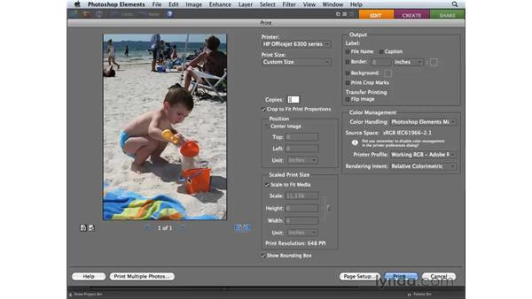 Printing to an inkjet printer: Photoshop Elements 6 for Mac Essential Training