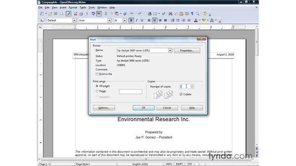 Printing documents: OpenOffice.org 2 Writer Getting Started