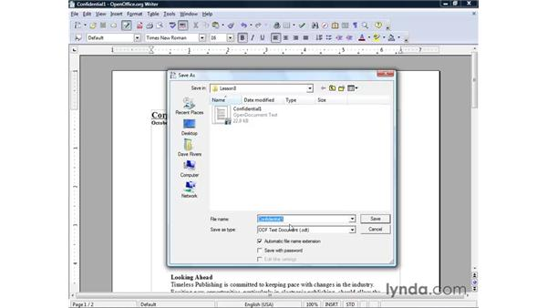 Password-protecting documents: OpenOffice.org 2 Writer Getting Started