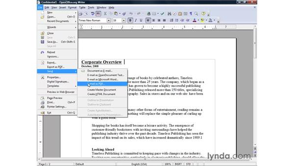 Sending documents by email: OpenOffice.org 2 Writer Getting Started
