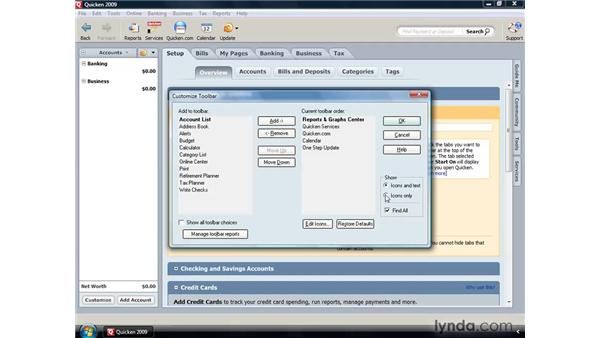 Customizing the toolbars: Quicken 2009 for Windows Essential Training