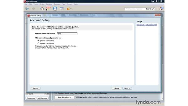 Creating a checking or savings account: Quicken 2009 for Windows Essential Training