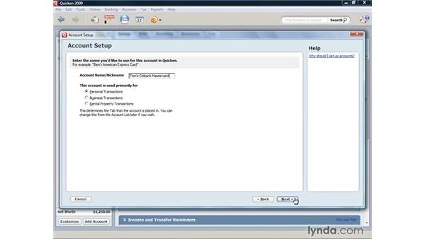 Creating a credit card account: Quicken 2009 for Windows Essential Training