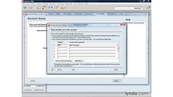 Adding a brokerage account: Quicken 2009 for Windows Essential Training