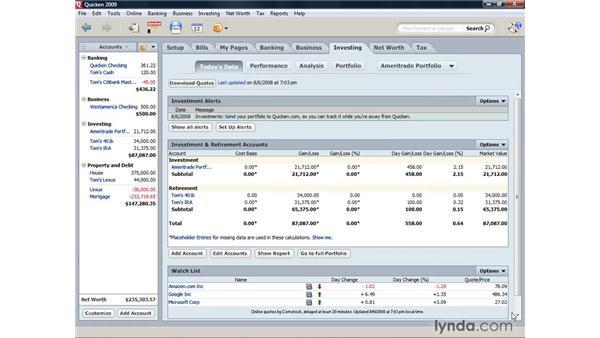 Creating a watch list: Quicken 2009 for Windows Essential Training
