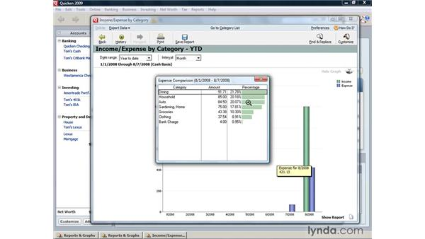 Creating charts and graphs: Quicken 2009 for Windows Essential Training