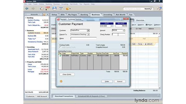 Receiving a customer's payment: Quicken 2009 for Windows Essential Training