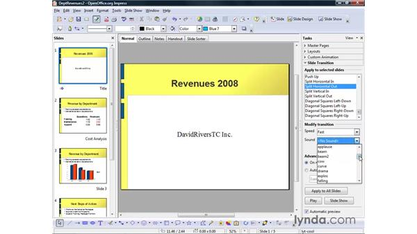 Adding slide transitions: OpenOffice.org 2 Impress Getting Started