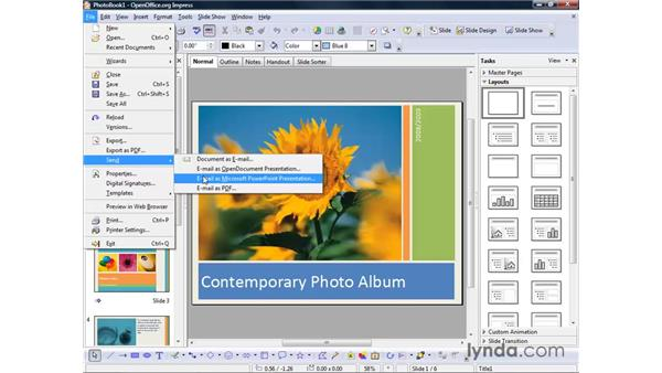 Sending a presentation: OpenOffice.org 2 Impress Getting Started