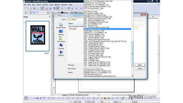 Opening and saving files: OpenOffice.org 2 Draw Getting Started