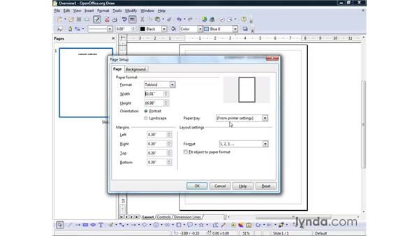 Adjusting page layout: OpenOffice.org 2 Draw Getting Started