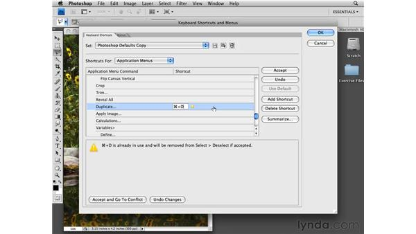 Customizing keyboard shortcuts: Photoshop CS4 Essential Training