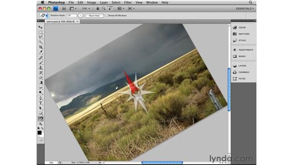 Rotating the canvas: Photoshop CS4 Essential Training