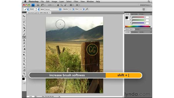 Sizing a brush tip: Photoshop CS4 Essential Training