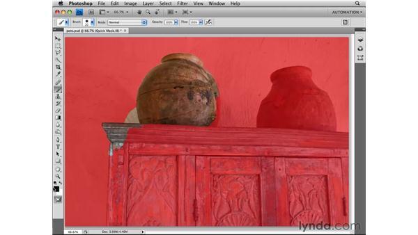 Using Quick Mask mode: Photoshop CS4 Essential Training