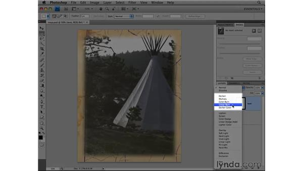 Using layer blend modes and opacity: Photoshop CS4 Essential Training