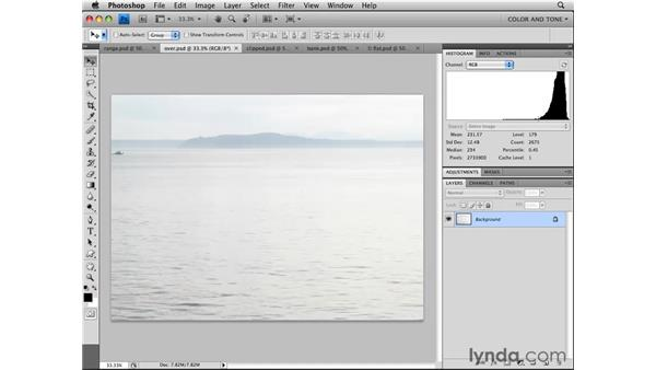 Reading histograms: Photoshop CS4 Essential Training