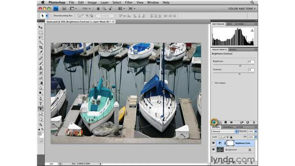 Using adjustment layers and the Adjustment panel: Photoshop CS4 Essential Training