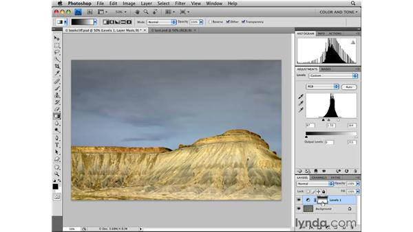 Limiting adjustments with layer masks: Photoshop CS4 Essential Training