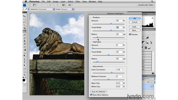 Adjusting with Shadow/Highlight: Photoshop CS4 Essential Training