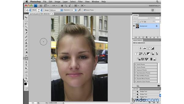 Using the Dodge Burn and Sponge tools: Photoshop CS4 Essential Training