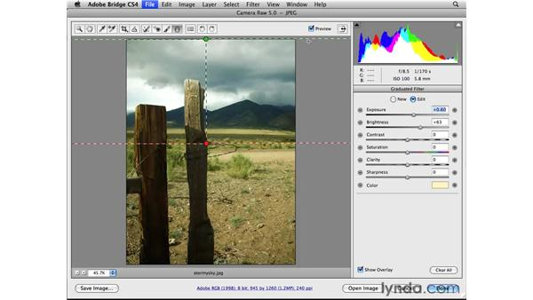 Using the Graduated Filter tool: Photoshop CS4 Essential Training