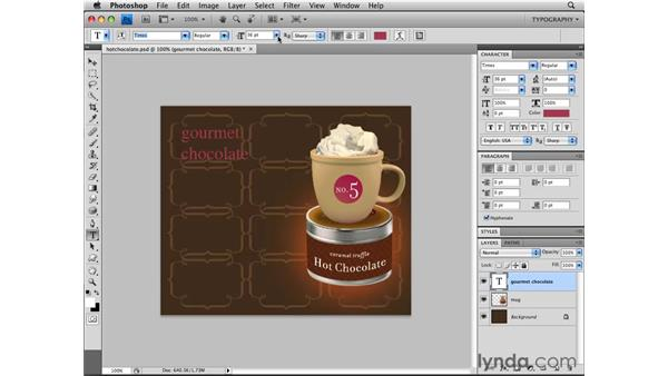 Working with point type: Photoshop CS4 Essential Training