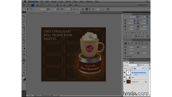 Working with paragraph type: Photoshop CS4 Essential Training