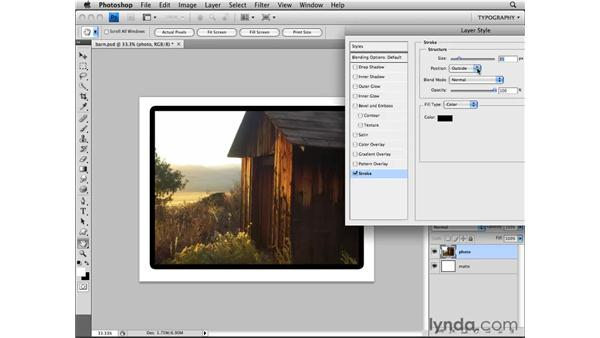 Adding a layer style: Photoshop CS4 Essential Training
