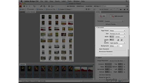Making a contact sheet from Bridge: Photoshop CS4 Essential Training