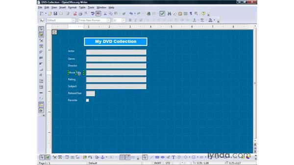 Modifying a form's design: OpenOffice.org 2 Base Getting Started