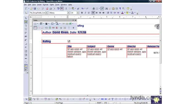 Modifying reports in Design view: OpenOffice.org 2 Base Getting Started