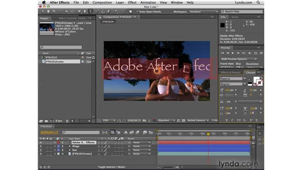 Creating animated text: After Effects CS4 Essential Training