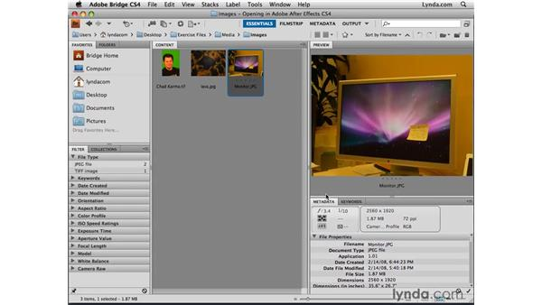 Browsing and importing with Bridge: After Effects CS4 Essential Training