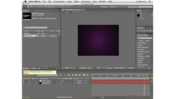 Importing images with transparency: After Effects CS4 Essential Training