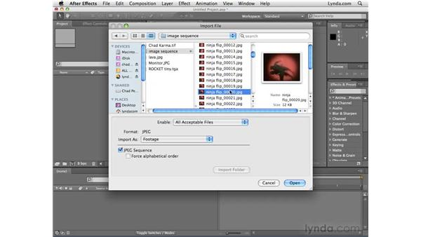 Using image sequences instead of video: After Effects CS4 Essential Training