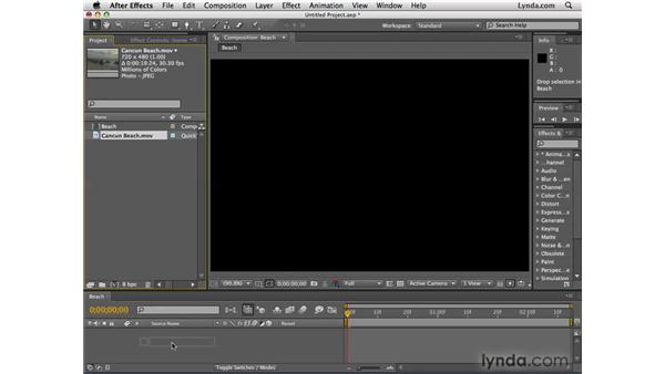 Adding imported items to compositions: After Effects CS4 Essential Training