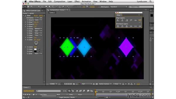 Aligning and distributing multiple objects: After Effects CS4 Essential Training
