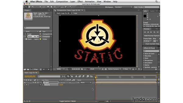 Animating properties: After Effects CS4 Essential Training