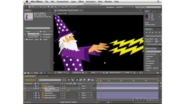 Animating the wizard's face with Position: After Effects CS4 Essential Training