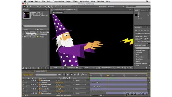 Previewing animations and portions thereof: After Effects CS4 Essential Training