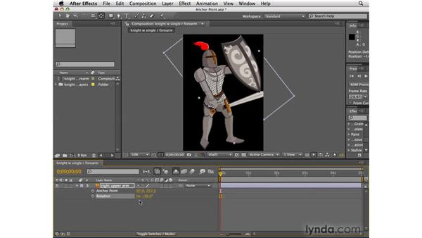 Adjusting the anchor point of the knight's arm: After Effects CS4 Essential Training