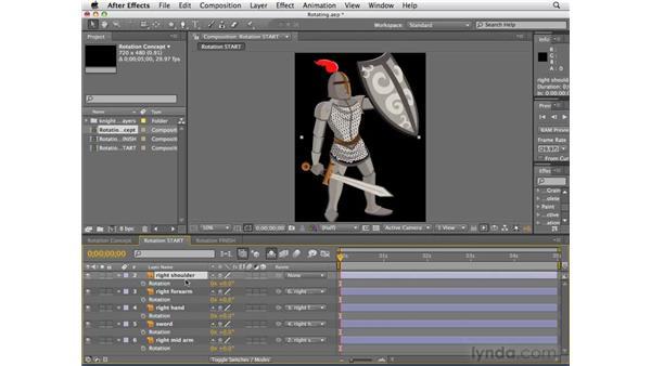 Rotating the knight's arm: After Effects CS4 Essential Training