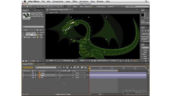 Using the Puppet tool to animate the dragon: After Effects CS4 Essential Training