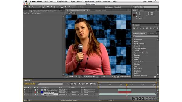 Splitting layers of B-roll footage: After Effects CS4 Essential Training