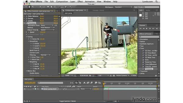 Slowing down and speeding up video: After Effects CS4 Essential Training