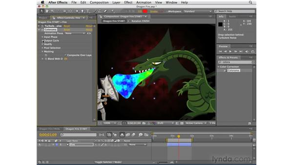 Creating the dragon's fire: After Effects CS4 Essential Training