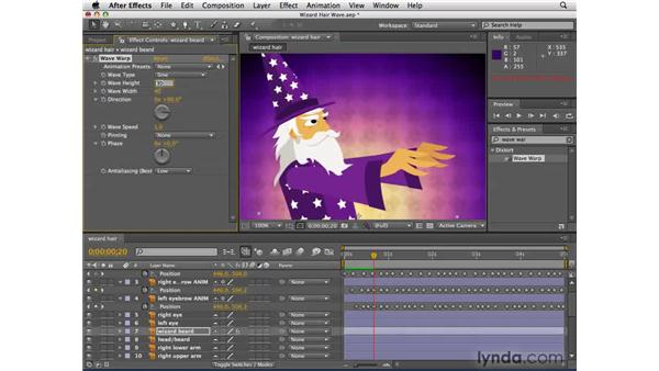 Creating waving wizard hair: After Effects CS4 Essential Training