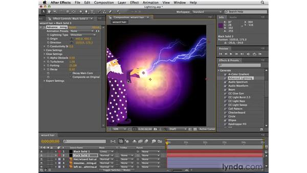 Creating the wizard's lightning bolts: After Effects CS4 Essential Training